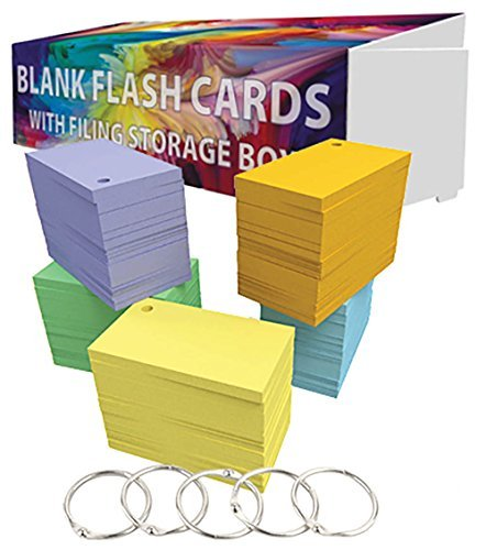 Debra Dale Designs - 1,000 + 100 Extra Small Multi-Color Blank Flash Cards with Rings - 2 x 3.5 - Made RIGHT in the USA - Bonus Storage Travel Box with Lid - Great for sight words, language study