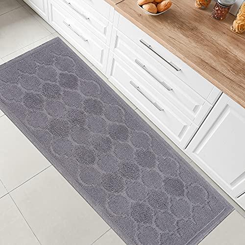 Boho Home Tapis de bain antidérapant - Design marocain - En coton - Gris - 80 x 150 cm