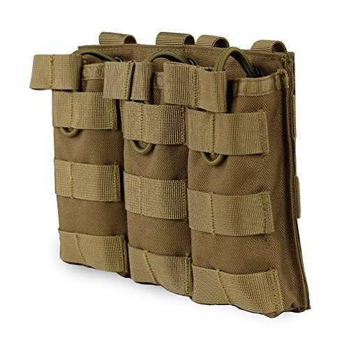 XUE Porte Chargeur Molle Triple pour Pistolet M4 M16 AR15 HK416 Militaire Pochette des Magasins pour Airsoft Accessoires Tactiques de Gilet de Sac à Dos (Coyote Tan)