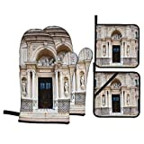 Juego de 4 Guantes y Porta ollas para Horno Resistentes al Calor Columna de Arquitectura Antigua en Italia Europa Milán Religio y la luz del Sol para Hornear en la Cocina,microondas,Barbacoa