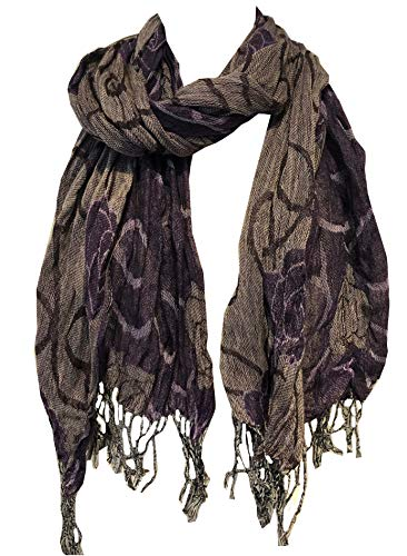 Pamper Yourself Now Lila und grau klobig Rosen-Entwurf dehnbar Schal (Purple and Grey chunky rose design stretchy scarf)