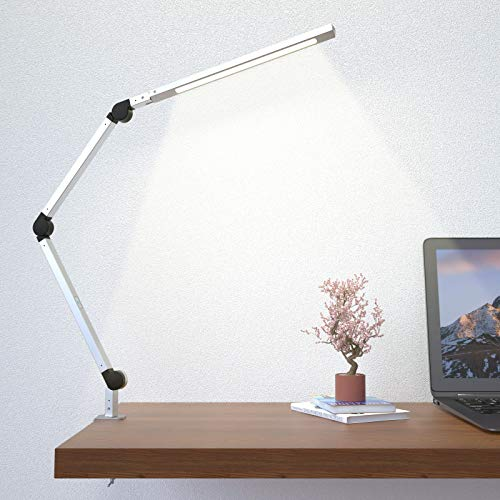 Swing Arm Lamp, LED Desk Lamp with Clamp, 9W Eye-Care Dimmable Light, Timer, Memory, 6 Color Modes, Wellwerks Modern Architect Table Lamp for Task Study (Silver)