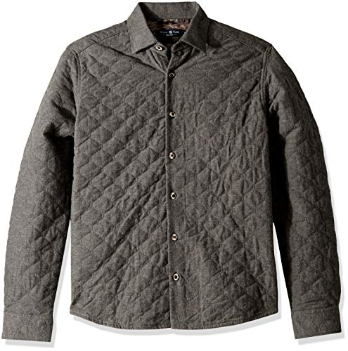 Stone Rose Men's Long Sleeve Quilted Shirt-Jacket, Charcoal, 7/XXXL