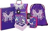 Schulranzen Mädchen Set 5 Teilig - Schultasche ab 1. Klasse - Grundschule Ranzen mit Brustgurt - Ergonomischer Schulrucksack (Schmetterling)