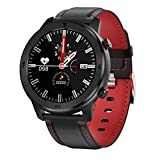 DTNO.1 DT78 1.3 inch Health Care Fitness Tracker Smart Sports Watch IP68 Waterproof Blood Pressure Blood Oxygen Heart Rate Sleep Monitor (Black+Red Leather)