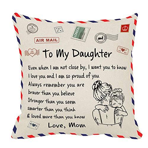 Sungpune Almohada Decorativa Cubierta Mensaje Personalizado Carta Manta Plaza Decorativa Throw Pillow Covers Set Caso Cojín para sofá del Dormitorio de mamá Coches para Hija