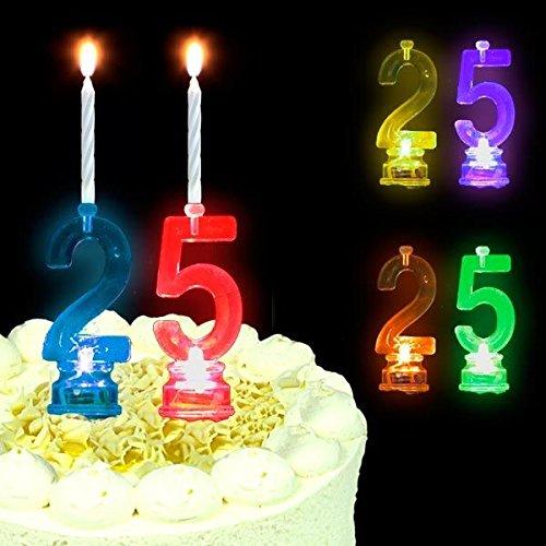 LED-Tortenkerzen-Set als 25, Geburtstagskerzen + Kerzenständer 25ter Geburtstag