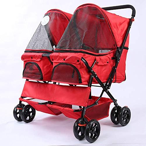 Kat Hond Kinderwagen Dubbele rij Kinderwagen Opvouwbaar Outdoor Travel Jogger Buggy Puppy Dierbenodigdheden Draagtas Wasbaar,Red