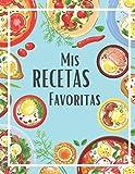 Mis recetas favoritas: Cuaderno de 100 recetas en blanco para anotar tus propios recetas y notas | 2 páginas por receta | Gran formato 21,6 x 27,9 cm | Tapa brillante | Azul | Idea de regalo
