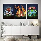 XIAOJIE0104 Toile Peinture Imprimé Décoration de La Maison 3 Pcs Pokemon Poche Monstre Anime Oeuvre Murale Modulaire Photos Affiche pour Le Salon, sans Cadre, 40 cm x 60 cm x 3 pcs
