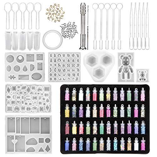 Comius Sharp 127 Piezas Kit de Molde de Fundición de Resina, Fabricación Artesanal de Joyas de Bricolaje, Juego de Herramientas de Epoxi de Cristal, Fácil de Desmoldar Limpiar (B)