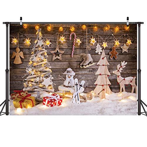 LYWYGG 7x5FT Fondos Navidad Christmas Theme Telones de Fondo Madera Navidad Ciervo Estrellas Brillantes Árbol de Navidad Vacaciones para Niños Fotografía Fondo Fondo Fotografia Madera CP-100