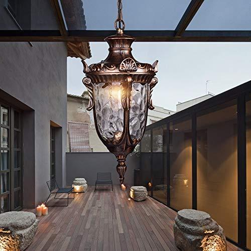 Araña impermeable al aire libre, luz de balcón al aire libre retro europeo, altura ajustable negro / latón e27 araña, corredor de porche gazebo lámpara lámpara de uva marco lámpara villa terraza jardí