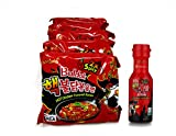 Samyang Buldak Hot Chicken Flavored Ramen 2X Spicy Bundled With 2X Extreme Hot Chili Sauce (5 Pack + 1 Sauce)