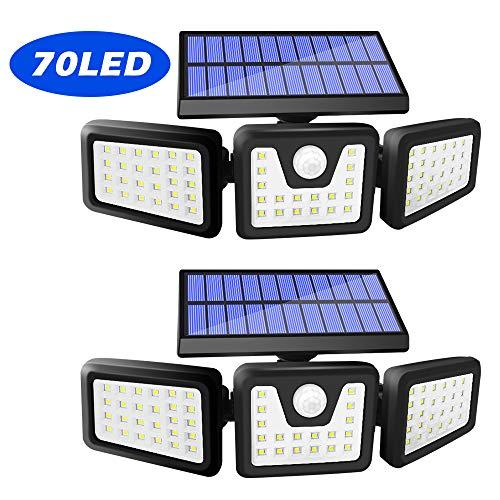 Harmonic Solar Motion Sensor Lights Outdoor,70 LED Solar Security Lights Outdoor,Adjustable 3 Heads,IP65 Waterproof,800LM Flood Light for Yard,Garage,Garden,Patio(2 Pack)