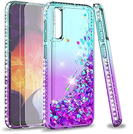 LeYi Funda Samsung Galaxy A50 / A30S / A50S Silicona Purpurina Carcasa con [2-Unidades Cristal Vidrio Templado], Transparente Cristal Bumper Gel TPU Fundas Case Cover para Movil A50 Verde/Morado