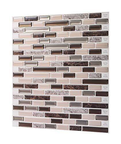 SMXGF Big Size 12 * 11,75 inch zelfklevende waterdichte sticker Wallpaper Peel en Stick Mosaic 3D Brick Effect Tegels - Sheet (Color : RS51)
