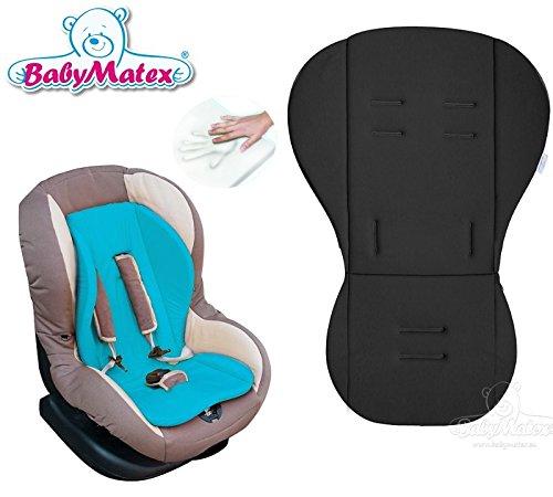 BabyMatex **RENIS NOIR** Coussin d'assise MEMORY FOAM ** Thermoactif et innovativ ** pour poussette, siège auto, coque bébé, nacelle (p.e. Maxi Cosi Römer Cybex et autre)