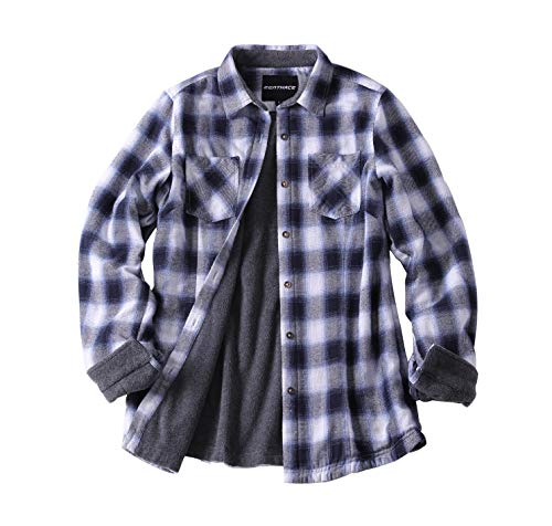 ZENTHACE Women's Thermal Fleece Lined Plaid Button Down Flannel Shirt Jacket Blue/White XL