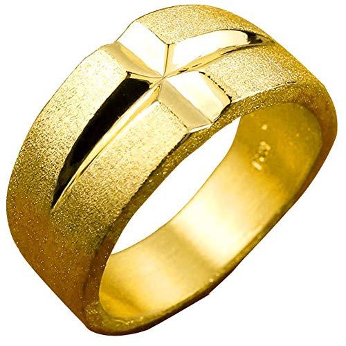 [アトラス] Atrus リング メンズ 24金 純金 クロス リング 幅広 地金 ストレート 14号