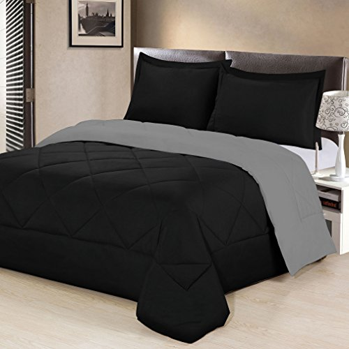 Aurora Bedding  3 Piece Reversible Luxurious Brushed Microfiber Goose Down Alternative Comforter Set with pillow Shams, Full/Queen, Black/Gray