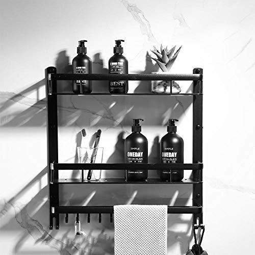 Punch, gratis badkamerwand, gemonteerde handdoekbeugel, dubbele badborstel, opbergrek, zwarte badkamerplank, zwarte dubbele riem met stang 50 cm