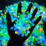 300 Piezas de Rocas Que Brillan en la Oscuridad, Piedras guijarros Luminosos Brillantes jardín al Aire Libre núcleo pecera Acuario a Granel decoración pasarelas paisajismo Estanque Exterior