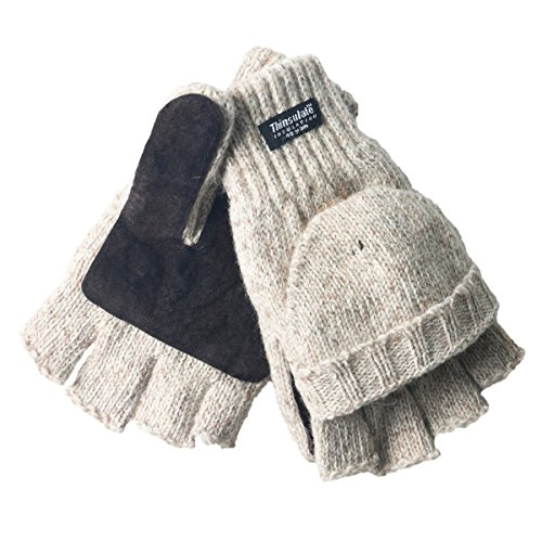 Oodoor's Winter Gloves Fleece Lined with Thinsulate - Unisex - Warm Wool Knitted Convertible Fingerless Mittens