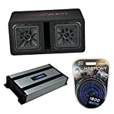 Kicker Bundle Compatible with Universal Vehicle 45DL7R122 Dual 12' Vented Sub Box with HA-A800.1 Amp Mono 1600W Subwoofer Amp and HA-AK4 Gauge 1800W Amp Amplifier Install Kit