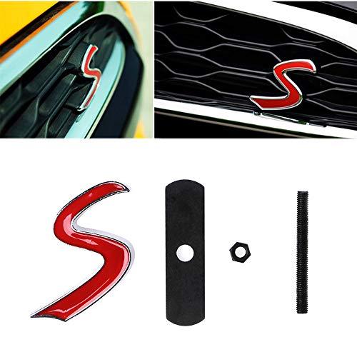 L&U 3D-Metall-S Frontgrill-Emblem-Aufkleber für Mini Cooper R50 R52 R53 R56 R57 R58 R60 JCW Grill Badge Abziehbilder Exterior Zubehör