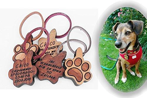 VINMUT Hundemarke aus Holz und Leder inkl. Wunschgravur