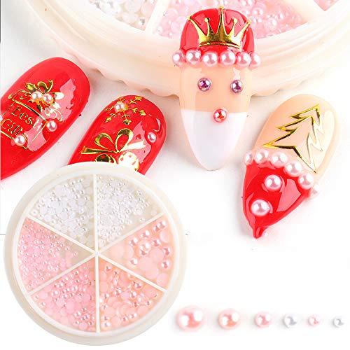 1 rueda de diamantes de imitación de uñas de tamaño mixto, cuentas de perlas blancas y rosas para decoraciones de uñas, manicura, diseño de espalda plana, accesorios de bricolaje B