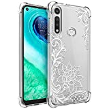 Osophter for Moto G Fast Case for Girls Women Shock-Absorption Flexible TPU Rubber Cell Phone Cases Cover for Motorola Moto G Fast(White Lace)