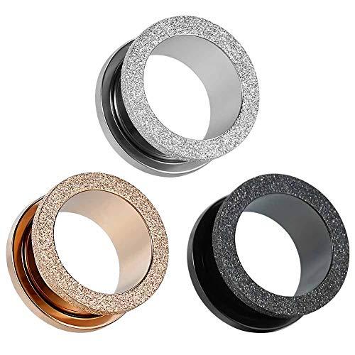 COOEAR Pendientes de acero quirúrgico para orejas de 8g(3mm) a 5/8g(16mm)