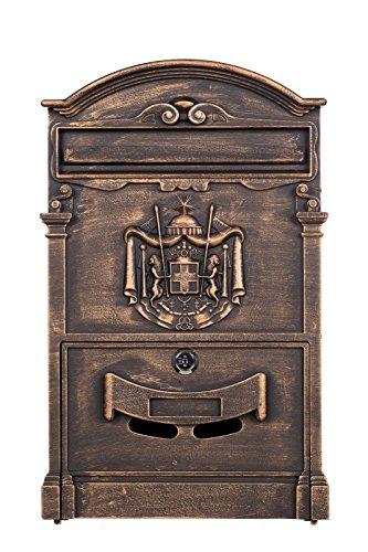 Sarah B Antiker und sehr edler Briefkasten LB-001 Antik Bronze Wandbriefkasten, Briefkasten, Englischer Briefkasten 41 cm hoch Mit Befestigungsmaterial für die Wand. mit 2 Schlüsseln, Rostfrei