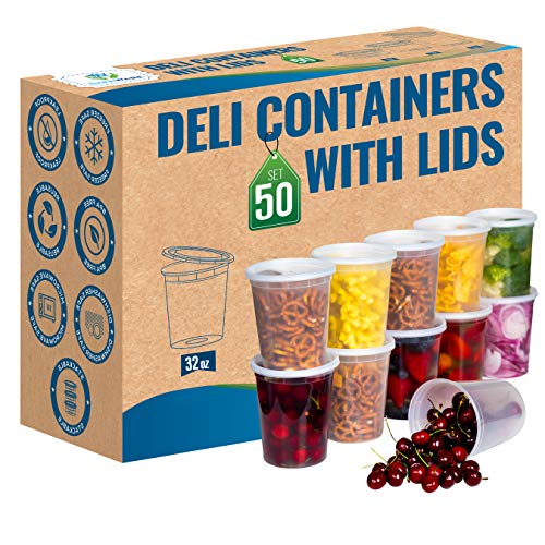 Plastic Food Storage Containers with Lids - 50 Pack (32oz)