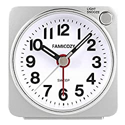 FAMICOZY Small Lightweight Travel Alarm Clock, Quiet Non Ticking Analog Alarm Clock with Snooze and Light,Sound Crescendo,Mini Quartz Alarm Clock,Battery Operated(Silver)