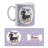 Kembilove Taza de Café de Perro Salchicha Personalizada con Nombre – Taza de Desayuno Razas de Perro – Taza de Café y Té Mascota – Taza de Cerámica Impresa – Tazas de Perro Salchicha