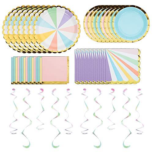 Creative Converting Pastel Celebrations Party Dinnerware Bundle | Plates,...