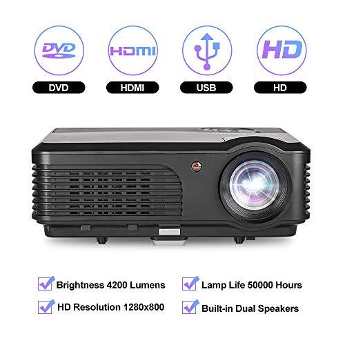 Videoproiettore da 4200 lumen, proiettore LED Ugpraded 1080P supportato Proiettore Home Movie per interni / esterni con altoparlanti, compatibile con Fire TV Stick, PS4, HDMI, VGA, AV, USB, RCA