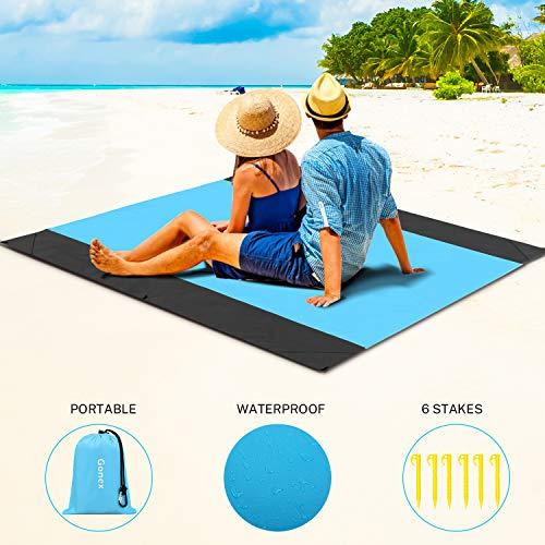 Gonex Alfombras Playa Manta Picnic Suelo Camping Esterilla Anti Arena Lona Impermeable Exterior Colchón Cubierta para Jardín Parque Piscina Acampada Viaje al Aire Libre (Naranja: 200 x 200 CM)