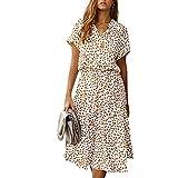 Fashion KINGVONWomens Ladies Summer Elegant Midi Dress Casual Floral Printed Lapel High Waist Polka Dot Short Sleeves with Belt Boho Beachwear Holiday Sundress