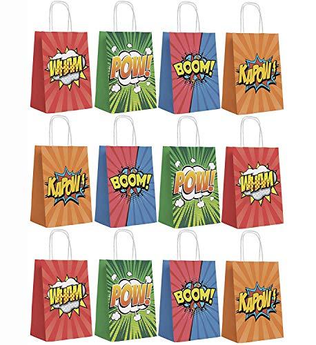 THE TWIDDLERS 12 Sacs-Cadeaux de Super-héros pour Fêtes Anniversaire Enfants