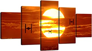Tie Fighters Sunset Star Wars VII The Force Awakens Modern Canvas Wall Art for Bedroom Living Room Home Decor Wall Pictures HD Print Artwork Room Decor Framed Ready to Hang 5 Panel (60X32 inches)