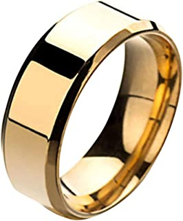 Fashion Simple Unisex Lovers Stainless Steel Mirror Finger Rings Jewelry Gifts - Black US 12