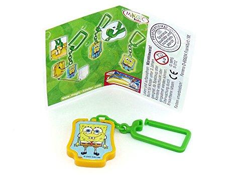 Kinder Überraschung Portachiavi Spongebob con testa in spugna e foglietto illustrativo