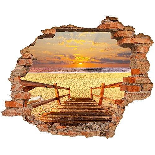 Fototapete 3D Bild Tapete Loch in der Wand Treppen zum Strand Sand Küste Meer orange Himmel Sonnenuntergang