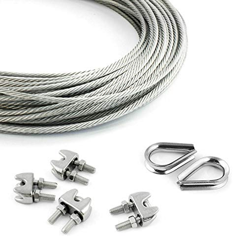 DQ-PP STEEL ROPE SET   5mm   50m   4 x rope clamps 5mm   2 x thimbles 5mm   Stainless steel INOX   7x7 medium soft   Wire rope for climbing aid rustproof steel wire forest rope winch tension handrail