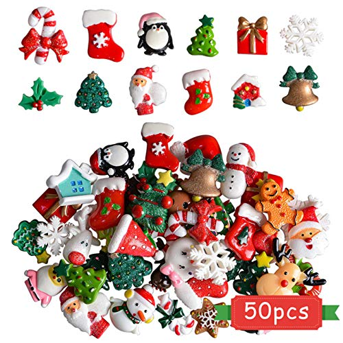 Kaloraly Christmas Assorted Craft Resin Ornaments Miniature Ornaments Santa Snowman Tree Bell Resin Decoration for Craft Making, Ornament Scrapbooking DIY Crafts(50Pcs)