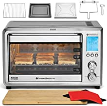 ConvectionWorks Hi-Q Intelligent Countertop Oven Set, 9-Slice XL Convection Oven Toaster w/ Bamboo Cutting Board (10 Accessories, Rotisserie & Spit Included), 1500 Watt, Stainless Steel, Teflon-free (Silver)
